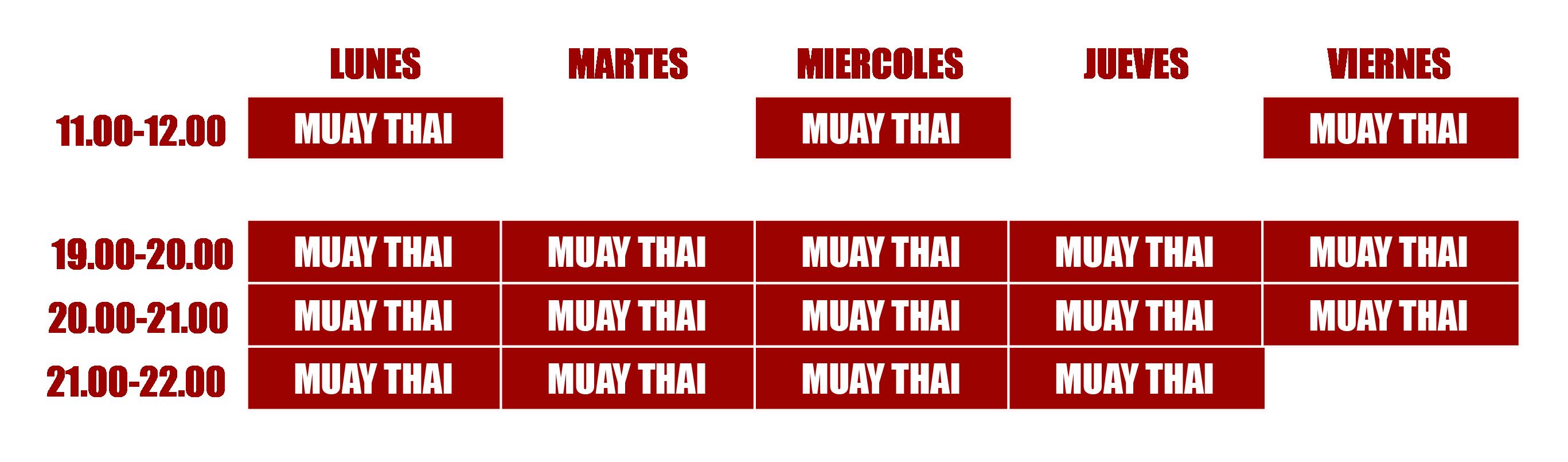 horario muay thai leal
